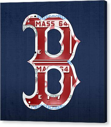 Boston Red Sox Logo Letter B Baseball Team Vintage License Plate Art Canvas Print by Design Turnpike