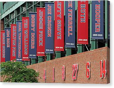 Boston Red Sox Retired Numbers Along Fenway Park Canvas Print by Juergen Roth