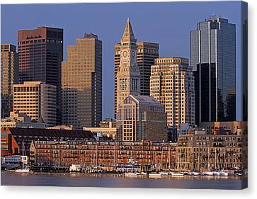 Boston Sail Boats And Cityscape Canvas Print by Juergen Roth