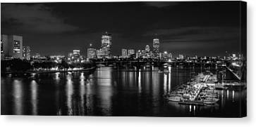 Charles River Canvas Print - Boston Skyline - Black And White by Joann Vitali