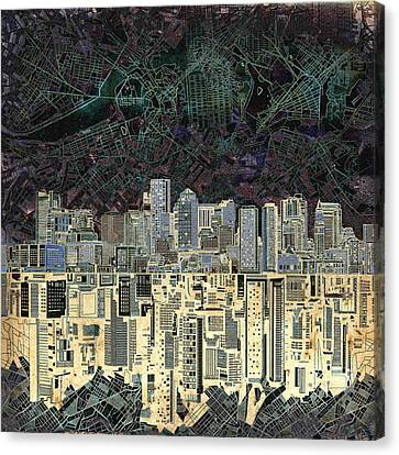 Abstract Digital Canvas Print - Boston Skyline Abstract Antique by Bekim Art