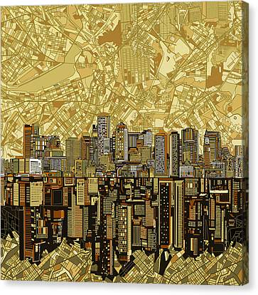 Boston Skyline Abstract Brown Canvas Print