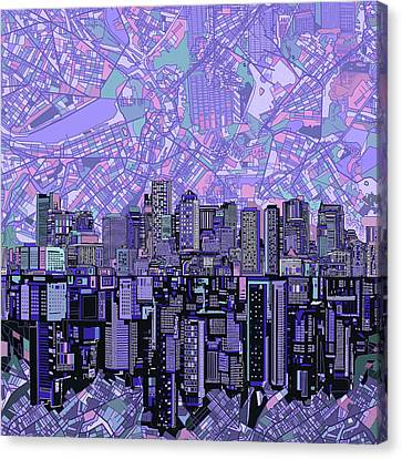 Boston Skyline Abstract Canvas Print