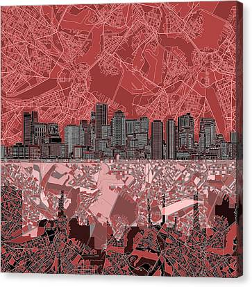 Boston Skyline Abstract Red Canvas Print