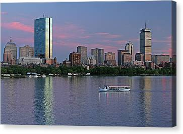 Boston Skyline And Sightseeing Boat Canvas Print by Juergen Roth