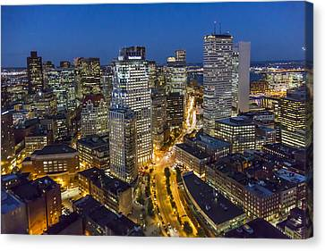 Boston Skyline At Night From The Sw Canvas Print