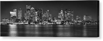 Boston Skyline At Night Panorama Black And White Canvas Print by Jon Holiday