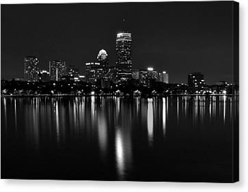 Boston Skyline By Night - Black And White Canvas Print