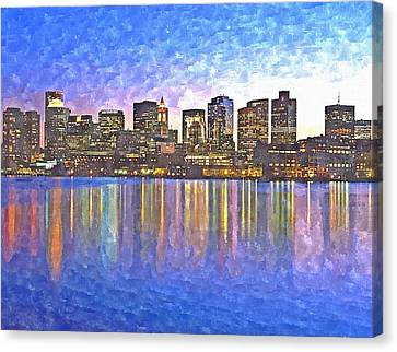 Charles River Canvas Print - Boston Skyline By Night by Rachel Niedermayer