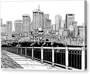 Boston Skyline Hatch Shell Canvas Print by Conor Plunkett