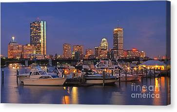 Boston Skyline In Blue And Gold Canvas Print by Joann Vitali