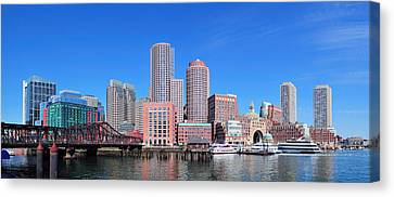 Boston Skyline Over Water Canvas Print