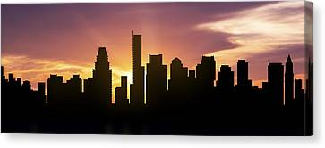 Boston Skyline Panorama Sunset Canvas Print