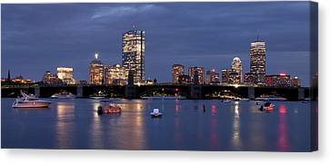 Boston Skyline Panoramic - Blue Nights Canvas Print by Joann Vitali