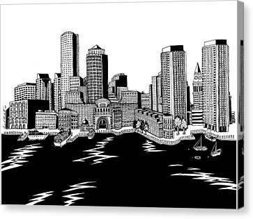 Boston Skyline Rowes Wharf Canvas Print by Conor Plunkett