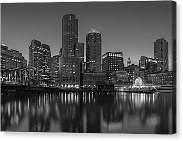 Boston Skyline Seaport District Bw Canvas Print by Susan Candelario