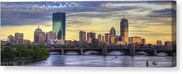 Boston Bridges Canvas Print - Boston Skyline Sunset Over Back Bay Panoramic by Joann Vitali