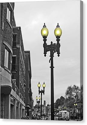Canvas Print featuring the photograph Boston Streetlamps by Cheryl Del Toro