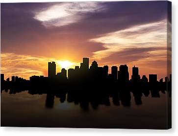 Boston Sunset Skyline  Canvas Print by Aged Pixel