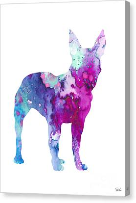 Boston Terrier 4 Canvas Print by Watercolor Girl