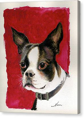Canvas Print featuring the painting Boston Terrier Dog by Nan Wright