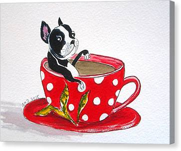 Boston Terrier In A Coffee Cup Canvas Print by Rita Drolet