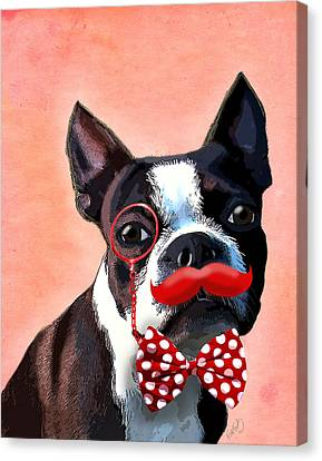 Boston Terrier Small Red Moustache Canvas Print by Kelly McLaughlan