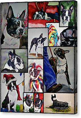 Boston Terrier Watercolor Collage Canvas Print by Susan Herber