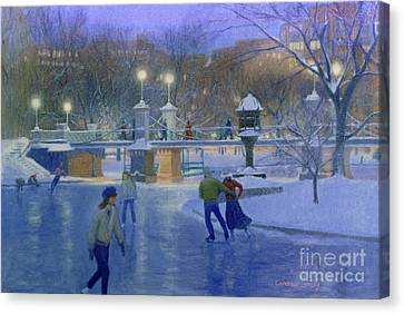 Public Holiday Canvas Print - Boston Twilight Skaters by Candace Lovely