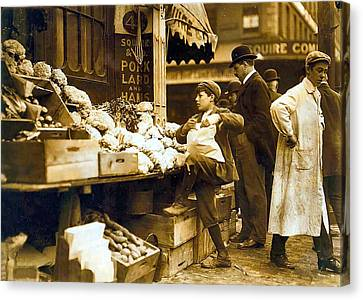 Grocery Store Canvas Print - Boston Vegetable Seller 1909 by Unknown