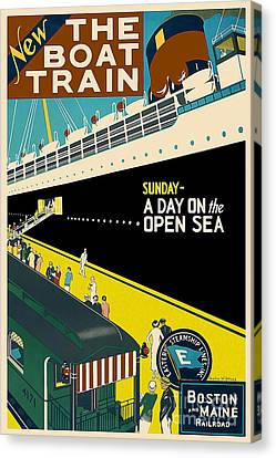 Boston Vintage Travel Poster Canvas Print by Jon Neidert