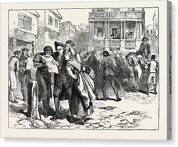 Bostonians Reading The Stamp Act, United States Of America Canvas Print by American School