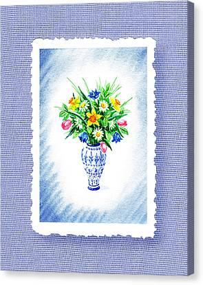 Botanical Impressionism Flowers Bouquet Canvas Print by Irina Sztukowski