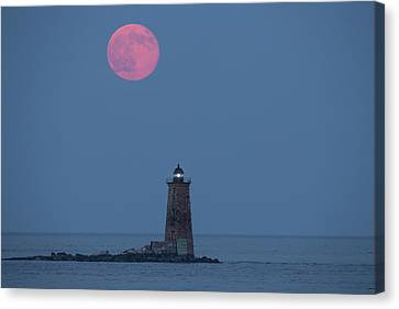 Both The Supermoon And Whaleback Canvas Print