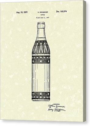 Bottle 1937 Patent Art Canvas Print by Prior Art Design