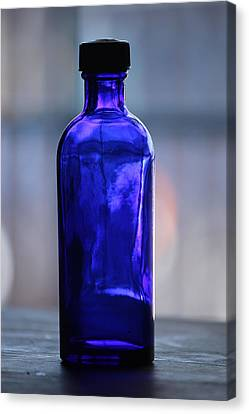 Canvas Print featuring the photograph Bottle Blue by Rowana Ray