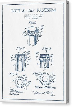 Bottle Cap Fastener Patent Drawing From 1907  - Blue Ink Canvas Print
