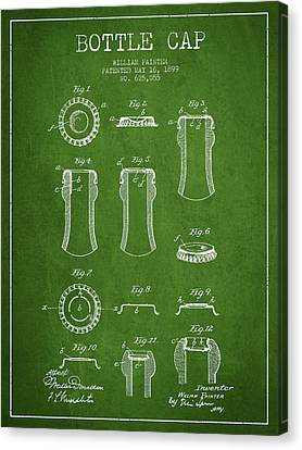 Bottle Cap Patent Drawing From 1899 - Green Canvas Print