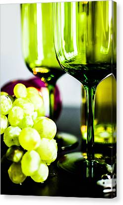 Bottle Glass And Grapes In Delightful Mix Canvas Print