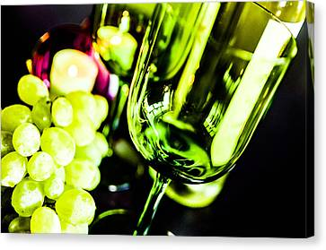 Bottle Glass And Grapes Canvas Print