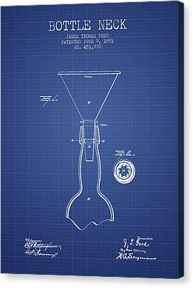 Bottle Neck Patent From 1891 - Blueprint Canvas Print by Aged Pixel