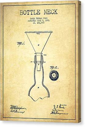 Bottle Neck Patent From 1891 - Vintage Canvas Print by Aged Pixel