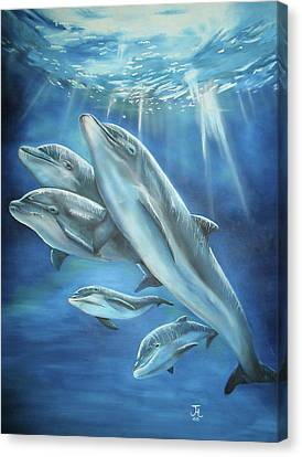 Canvas Print featuring the painting Bottlenose Dolphins by Thomas J Herring