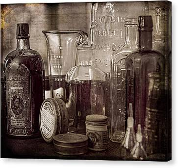 Bottles And Tins Canvas Print by Wayne Meyer