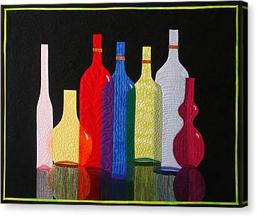 Canvas Print featuring the tapestry - textile Bottles by Jo Baner