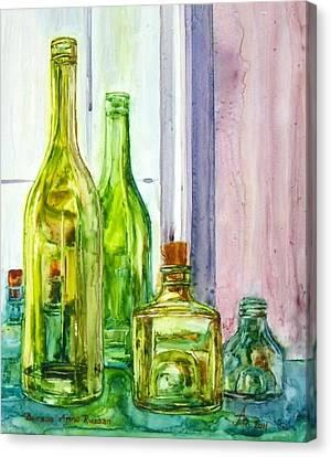 Bottles - Shades Of Green Canvas Print