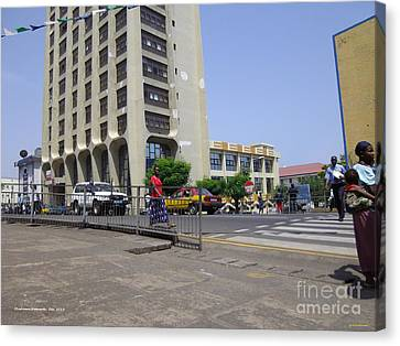 Canvas Print featuring the photograph Bottom Up Sierra Leone Commercial Bank by Mudiama Kammoh