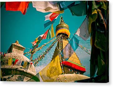 Boudnath Stupa In Kathmandu Nepal Canvas Print by Raimond Klavins