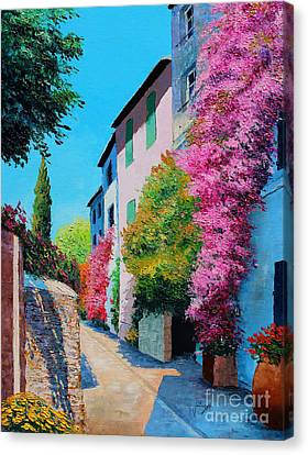 Pathway Canvas Print - Bougainvillea In Grimaud by Jean-Marc Janiaczyk