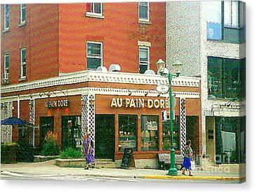 Boulangerie Au Pain Dore Corner Store Paintings French Bakery Shops  Montreal Depanneur Art Cspandau Canvas Print